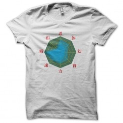 Naruto statistics white sublimation t-shirt