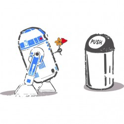t-shirt R2D2 in love white sublimation