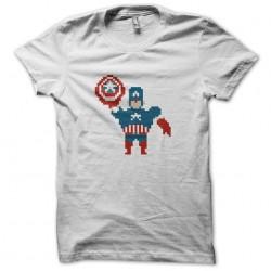 shirt captain america 8 bit white sublimation