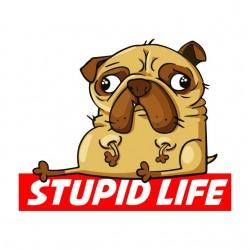 t-shirt stupid life white sublimation