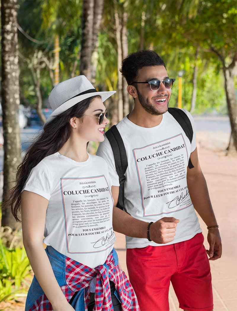 tee shirt coluche blanc